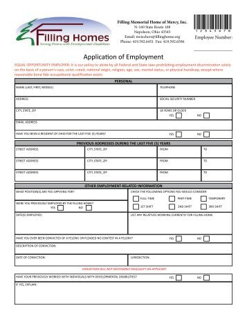 Application of Employment - Filling Homes
