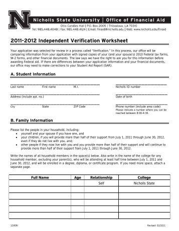 2011-2012 Independent Verification Worksheet - Nicholls State ...
