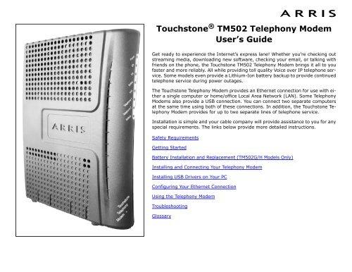 Touchstone TM502 Telephony Modem User\u0027s Guide - Arris