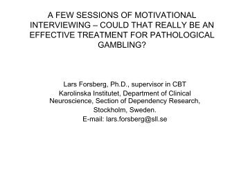 A few sessions of motivational interviewing