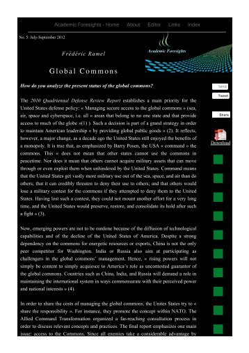 Global Commons - Academic Foresights