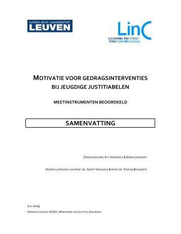 Motivatie voor gedragsinterventies bij jeugdige justitiabelen - WODC