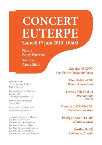 CONCERT EUTERPE du 1er juin 2013 - Les Amis de la Musique ...