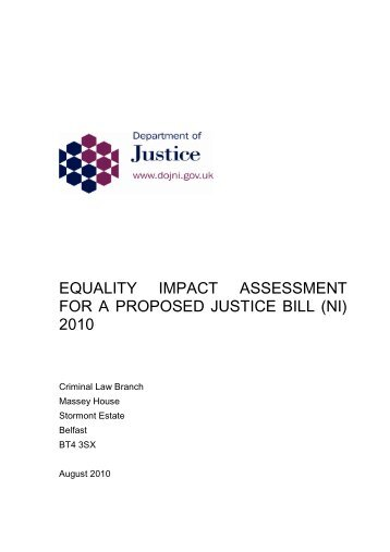 equality impact assessment for a proposed justice bill (ni) 2010
