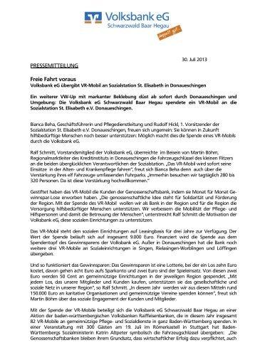 PRESSEMITTEILUNG Freie Fahrt voraus - Volksbank eG