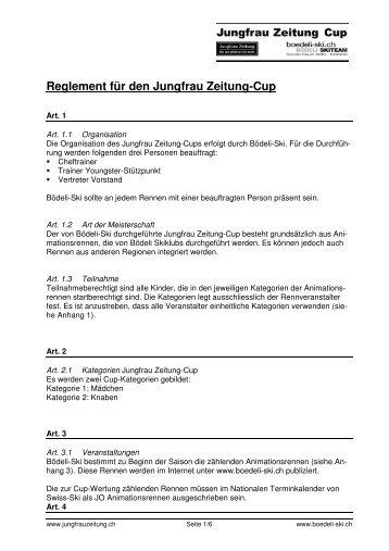 Reglement für den Jungfrau Zeitung-Cup - Bödeli Skiteam