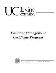 Facilities Management Certificate Program - UC Irvine Extension