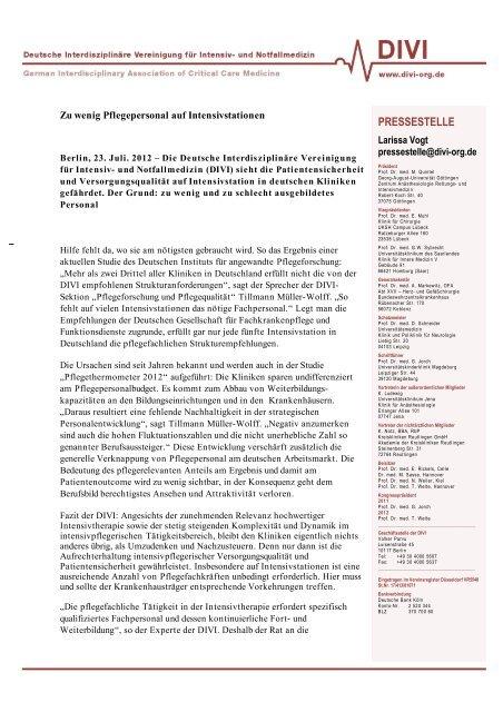 Pflegethermometer 2012 - DIVI