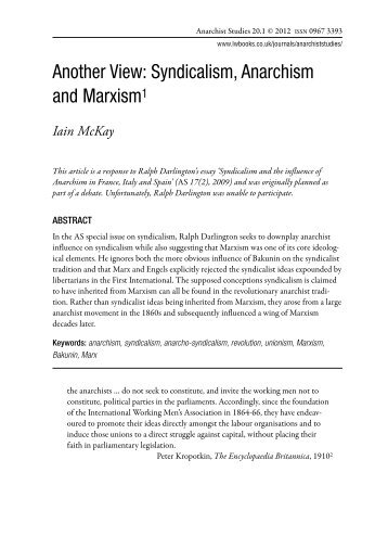 Another View: Syndicalism, Anarchism and Marxism