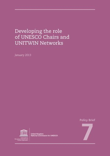 Developing the role of UNESCO Chairs and UNITWIN Networks