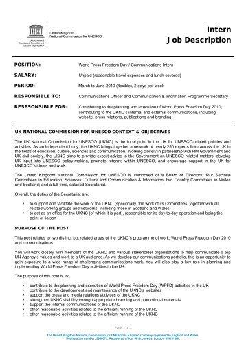 Job Descriptions - UK National Commission for UNESCO