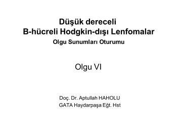 Düşük dereceli B-hücreli Hodgkin-dışı Lenfomalar Olgu VI
