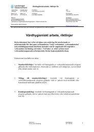 Vårdhygieniskt arbete, riktlinjer för - Landstinget Västernorrland