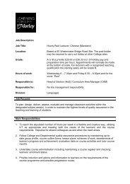 Job Description Job Title: Hourly Paid Lecturer: Chinese ... - Eteach