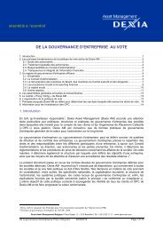 de la gouvernance d'entreprise au vote - Dexia Asset Management