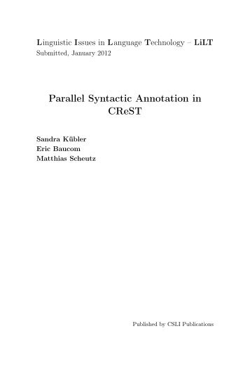 Parallel Syntactic Annotation in CReST - Indiana University