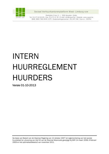 Het intern huurreglement: gedeelte huurders - Viva