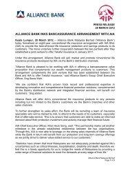 ALLIANCE BANK INKS BANCASSURANCE ... - AIA.com