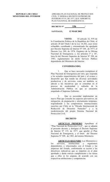 Aprobación Plan Nacional de Protección Civil - DISASTER info ...