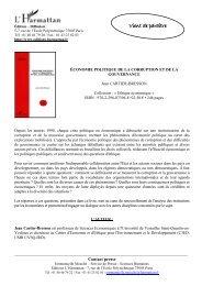 Télécharger le sommaire de l'ouvrage - Centre d'Économie de la ...