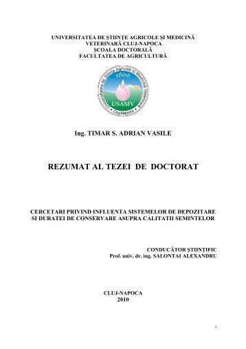 rezumat romana timar adrian - USAMV Cluj-Napoca