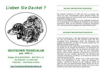 Lieben Sie Dackel - Teckelklub Wiesbaden/ Mainz