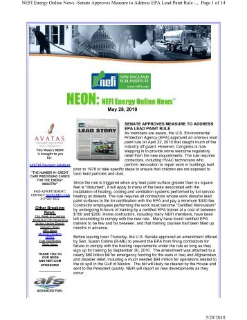 May 28, 2010 Page 1 of 14 NEFI Energy Online News ... - PriMedia