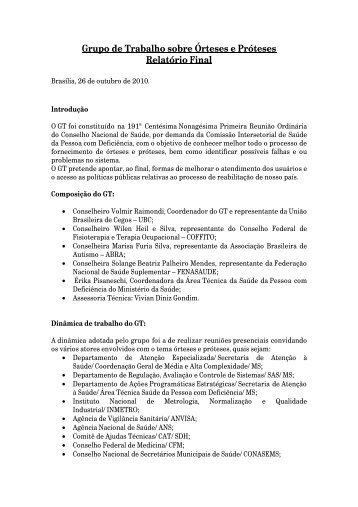 Confira a integra do relatório do Grupo de Trabalho Órteses e ...