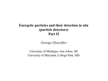 Energetic particles and their detection in situ (particle detectors) Part ...