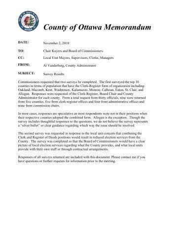 Clerk-Register Survey Results - Ottawa County