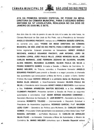 SAO JOSE DO RIO PRETO CAMARA MUNICIPAL DE