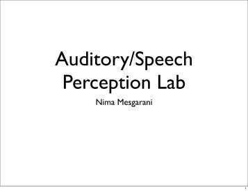 Auditory/Speech Perception