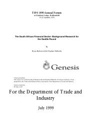 The South African Financial Sector: Background Research for ... - tips