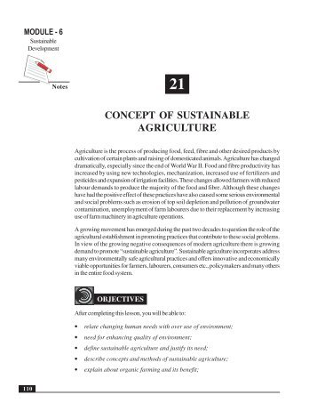 Concept of Sustainable Agriculture