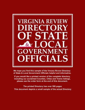 Sample Virginia Review Directory Of State & Local ... - VAReview.com