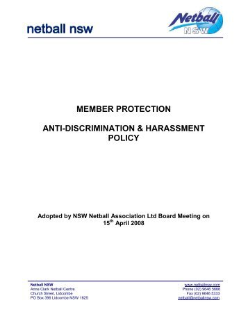 Anti Discrimination & Harassment Policy - Netball NSW
