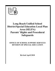 Parents' Rights and Procedural Safeguards - Long Beach Unified ...