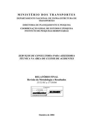 Custos de Acidentes Rodoviários - IPR - Dnit