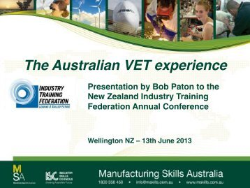 download presentation here - Industry Training Federation