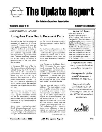 Using JAA Form One to Document Parts - Aviation Suppliers ...