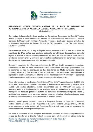 Medellín 202 - Planta baja. Col. Roma Sur. Del Cuauhtémoc ... - PAOT