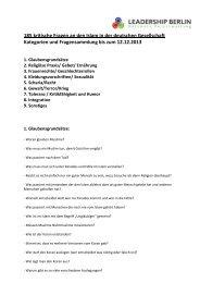 185 kritische Fragen an den Islam in der deutschen Gesellschaft ...