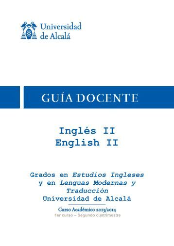 Inglés II English II - Universidad de Alcalá