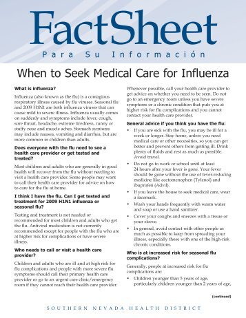 When to Seek Medical Care for Influenza - the Culinary Health Fund