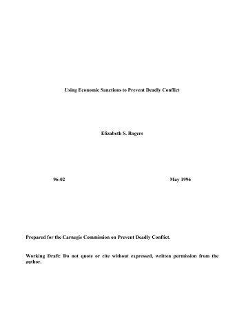 Using Economic Sanctions to Prevent Deadly Conflict Elizabeth S ...