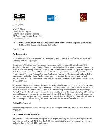 Baldwin Hills NOP Public Comments CHC 26EP ... - The City Project