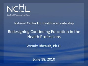 Redesigning Continuing Education in the Health Professions