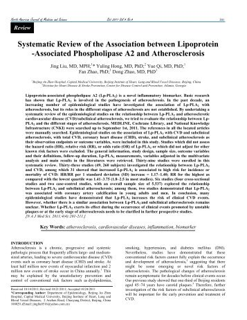 Systematic Review of the Association between Lipoprotein ...
