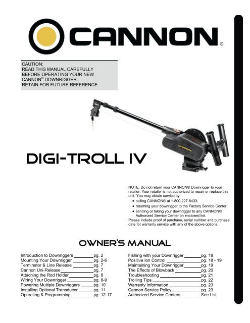 Cannon uni-troll 10 stx manual downrigger 1901130.