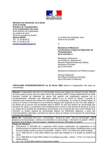 N°DHOS/SDO/2005/101 du 22 février 2005 - Ministère des Affaires ...